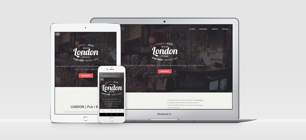 """Web Dizajn   """"London"""" Pub i Bar"""